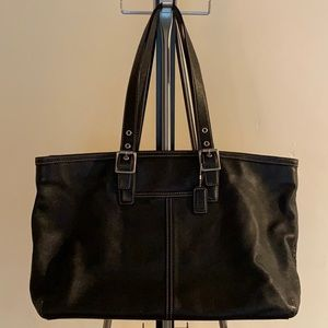COACH Large black leather tote